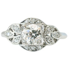 Platinum 0.93 Carat Total Old European Cut Diamond Engagement Ring