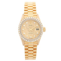Ladies Rolex President 18 Karat Gold Diamond Watch 69138