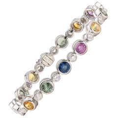 Multi-Color Sapphire and Diamond Link Bracelet