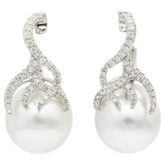 South Sea Pearl Earrings and Diamonds Flame Drop Earrings
