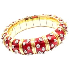 Tiffany & Co. Jean Schlumberger Paillonne Red Enamel Yellow Gold Bangle Bracelet