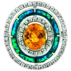 2.88 Carat Yellow Sapphire and Opal 18 Karat Gold Ring