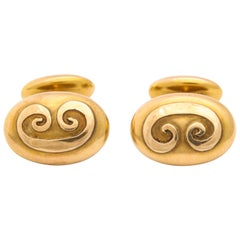 Antique Gold Unisex Art Nouveau Cufflinks