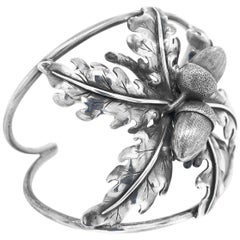 Mario Buccellati Silver Acorn and Leaf Bangle