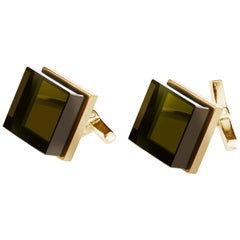 18 Karat Rose Gold Contemporary Ink Cufflinks by Artist with Smoky Quartz