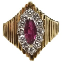 Marquise Cut Ruby and Diamond 14 Karat Ring