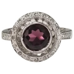 Rhodolite Garnet Diamond Ring