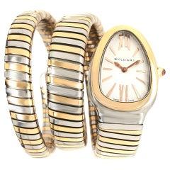 Bvlgari Stainless Steel and 18 Karat Rose Gold Serpenti Tubogas Watch