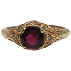 """Art Deco"" 14 Karat Rose Gold Pink Tourmaline and Diamond Ring"