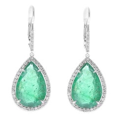 PGS Certified 15.93 Carat Total Pear Shape Emerald and Diamond Gold Earrings