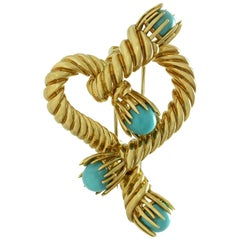 Tiffany & Co. Schlumberger Turquoise Yellow Gold Heart Brooch