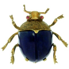 Van Cleef & Arpels Lapis Lazuli Ruby Yellow Gold Bug Brooch