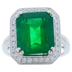 7.02 Carat Emerald Cut Emerald and Diamond Cocktail Ring in 18 Karat White Gold