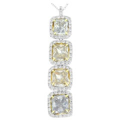 GIA Certified 5.08 Carat Radiant Cut Fancy Colored Diamond Pendant In 18 K Gold