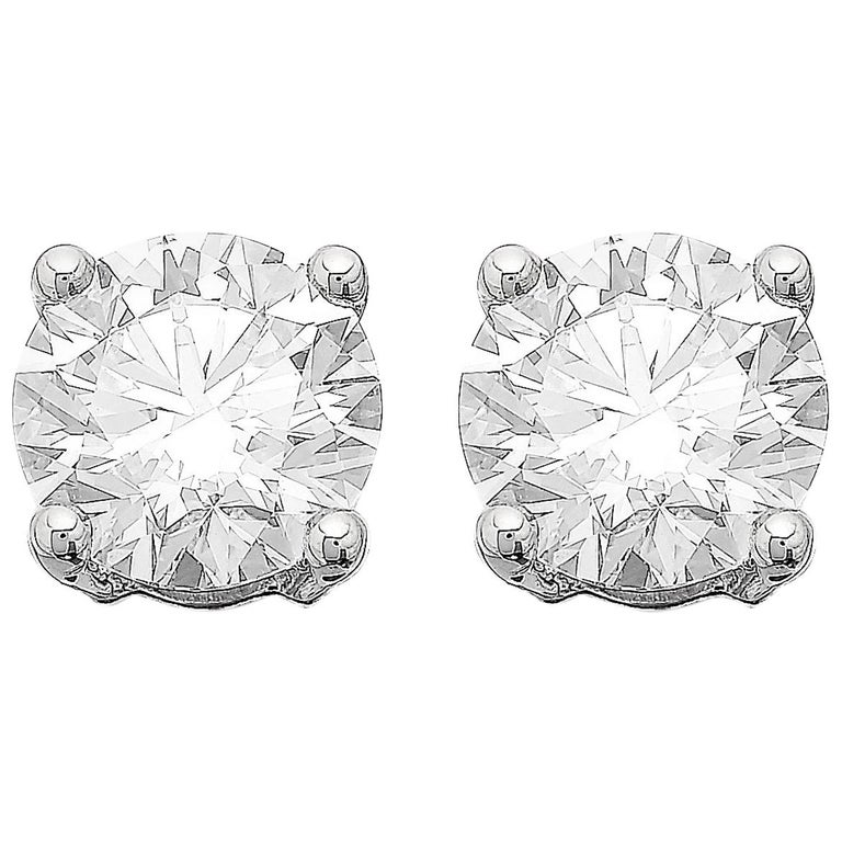 GIA Certified 3.06ct G VS1 Single Stone Solitaire Stud Round Diamond Earrings  For Sale