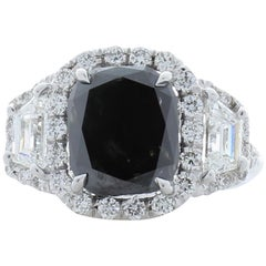GIA Certified Natural 3.47 Carat Cushion Black Diamond Cocktail Ring in 18 K