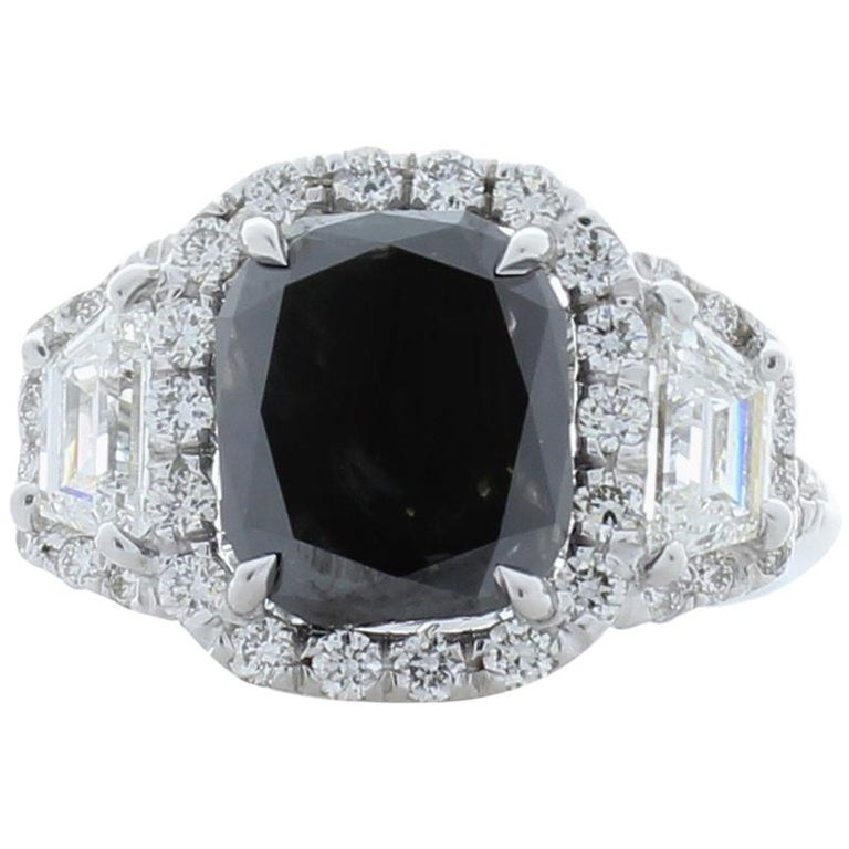 GIA Certified Natural 3.47 Carat Cushion Black Diamond Cocktail Ring in 18 K  For Sale