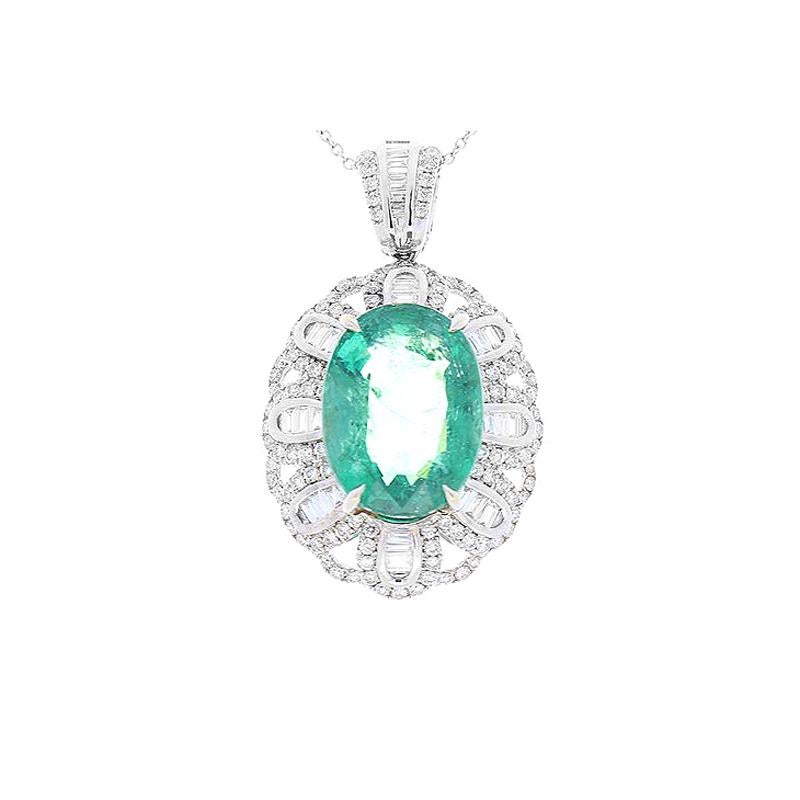 7.80 Carat Oval Emerald and Diamond Pendant in 18 Karat White Gold