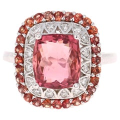 5.03 Carat Tourmaline Diamond Orange Sapphire 14 Karat White Gold Ring