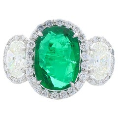3.85 Carat Oval Emerald and Diamond Cocktail Ring in 18 Karat White Gold