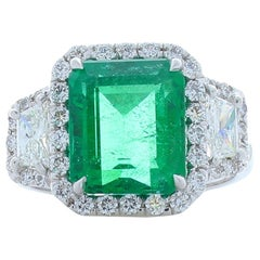 4.11 Carat Emerald Cut Emerald and Diamond Cocktail Ring in 18 Karat White Gold