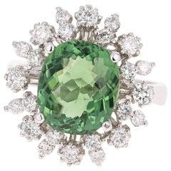 4.74 Carat Green Tourmaline Diamond 14 Karat White Gold Cocktail Ring