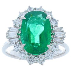 3.74 Carat Emerald and Diamond Cocktail Ring in 18 Karat White Gold