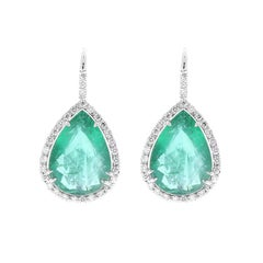 11.18 Carat Total Pear Shaped Emerald and Diamond Earrings in 18 Karat Gold