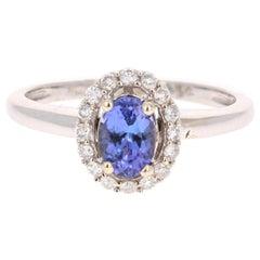 0.99 Carat Oval Cut Tanzanite Diamond Ring 14 Karat White Gold