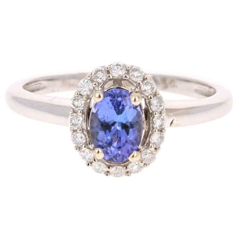 5fd0e3f220 0.99 Carat Oval Cut Tanzanite Diamond Ring 14 Karat White Gold For Sale