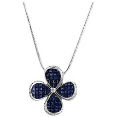 .70 Ct Diamonds 12.67 Ct Invisible Blue Sapphire 14k White Gold Flower Necklace
