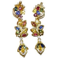 Estate 8.5 Carat VS Diamond Ruby Blue Pink Yellow Sapphire Dangle Earrings