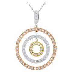 0.92 Carat Total Diamond Circle Tri-Tone Pendant in 14 Karat Gold