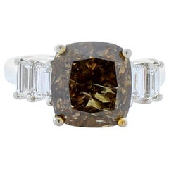 GIA Certified 6.04 Carat Cushion Fancy Dark Brown Diamond Cocktail Ring in Plat