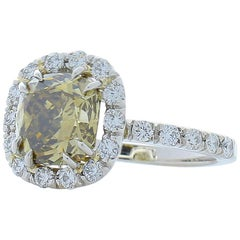 GIA Certified 3.37 Carat Cushion Fancy Dark Brown Diamond Cocktail Ring in Plat