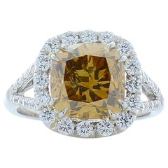 GIA Certified 4.01 Carat Cushion Fancy Brown Diamond Cocktail Ring in Platinum