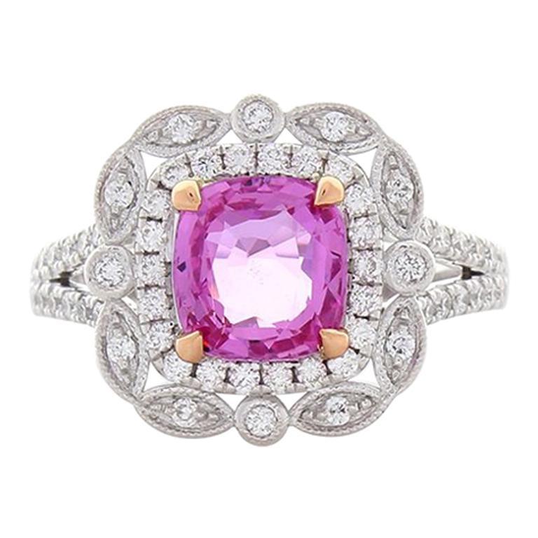 2 14 Carat Cushion Cut Pink Sapphire And Diamond Cocktail Ring In 18 Karat Gold
