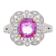 2.14 Carat Cushion Cut Pink Sapphire and Diamond Cocktail Ring in 18 Karat Gold