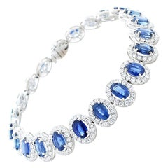 13.70 Carat Oval Blue Sapphire and Diamond Bracelet in 18 Karat White Gold