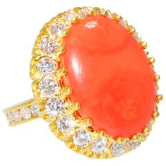 Red Coral and Diamond Ring