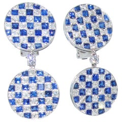 Platinum, Diamond and Sapphire Earrings