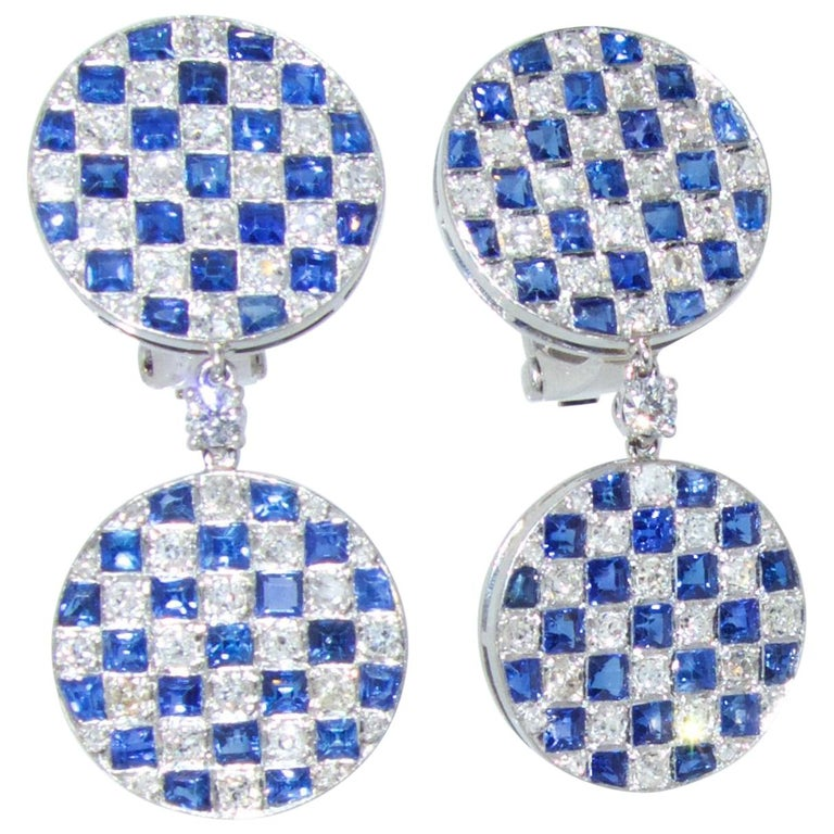 Platinum, Diamond and Sapphire Earrings For Sale