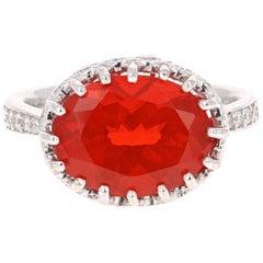 4.65 Carat Fire Opal Diamond 14 Karat White Gold Ring