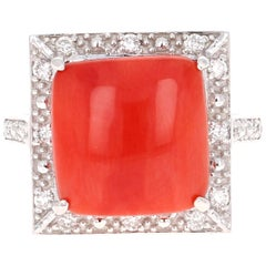 5.18 Carat Coral and Diamond White Gold Cocktail Ring