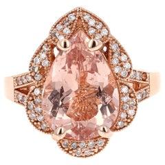 5.01 Carat Morganite Diamond 14 Karat Rose Gold Cocktail Ring