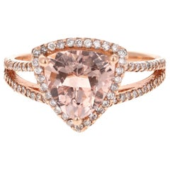 2.59 Carat Morganite Diamond 14 Karat Rose Gold Cocktail Ring