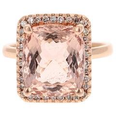 7.76 Carat Morganite Diamond 14 Karat Rose Gold Cocktail Ring