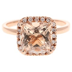 4.09 Carat Morganite Diamond 14 Karat Rose Gold Engagement Ring