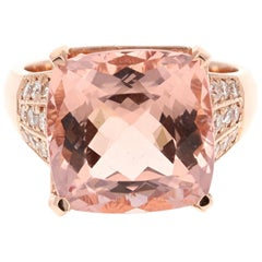 10.79 Carat Morganite Diamond 14 Karat Rose Gold Cocktail Ring