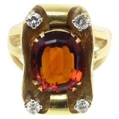 Gold Diamond Topaz Ring